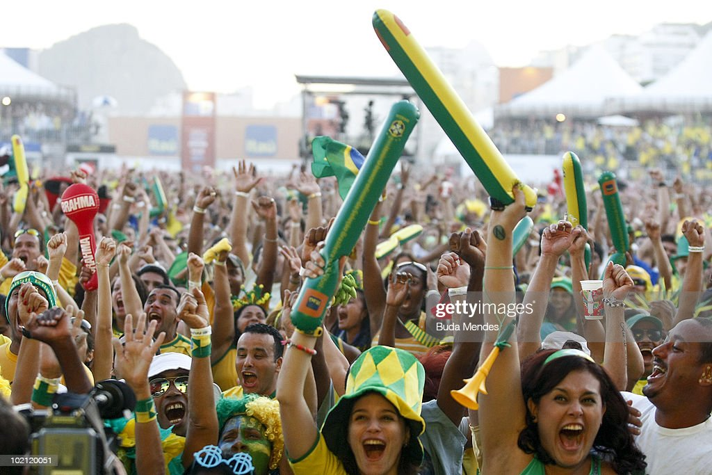Brazilian supporters celebrate a scored goal watching the National soccer team's opening match at the 2010 FIFA World Cup South Africa against North Korea at the FIFA Fan Fest in Copacabana Beach on June 15, 2010 in Rio de Janeiro, Brazil.