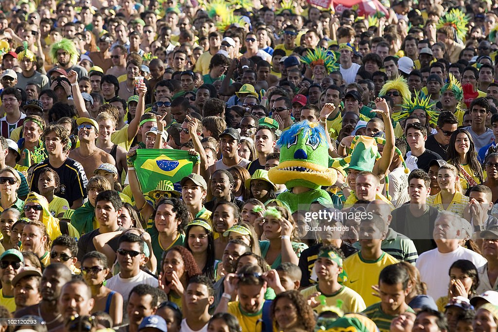 Brazilian supporters gather to watch the National soccer team's opening match at the 2010 FIFA World Cup South Africa against North Korea at the FIFA Fan Fest in Copacabana Beach on June 15, 2010 in Rio de Janeiro, Brazil.