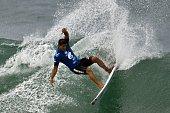 Brazilian surfer Alex Ribeiro competes during the Association of Surfing Professionals' men's 2015 WSL World Championship Tour at Barra da Tijuca...