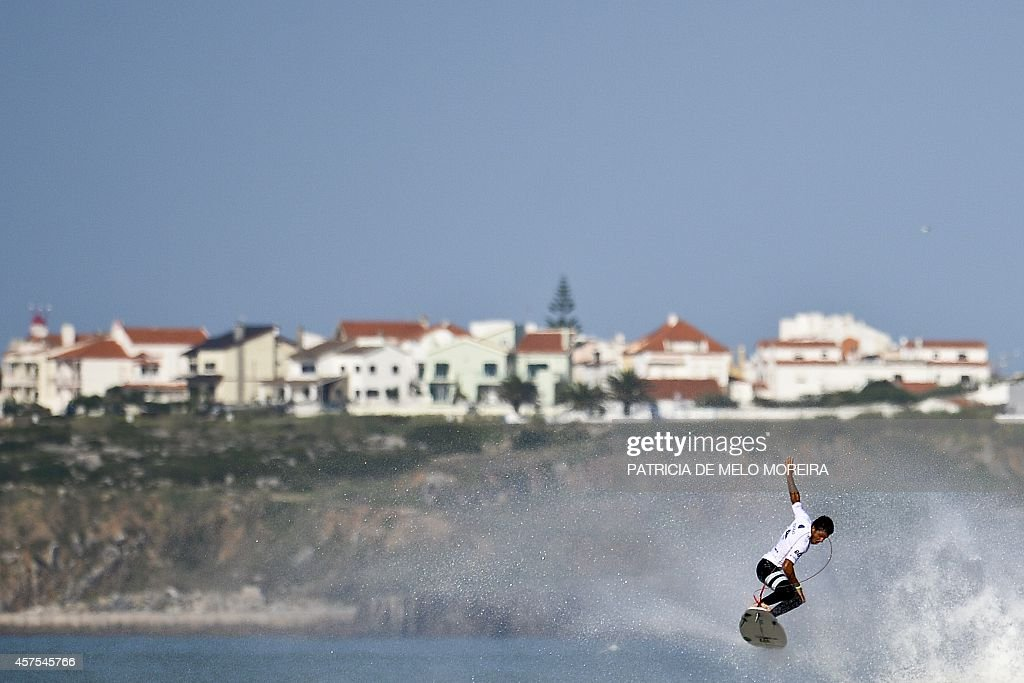 Brazilian surfer Felipe Toledo competes in the round 4 heat during the Moche Rip Curl Pro Portugal at Supertubos Beach in Peniche on October 20 2014...
