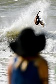 Brazilian surfer Jadson Andre competes during the Moche Rip Curl Pro Portugal at Supertubos Beach in Peniche on October 20 2014 AFP PHOTO/ PATRICIA...