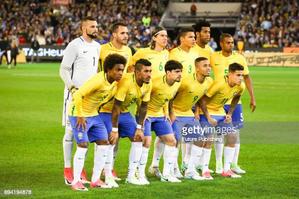 Brazilian team photo before Brazil plays Argentina in the Chevrolet Brasil Global Tour on June 9 2017 in Melbourne Australia Chris Putnam / Barcroft...