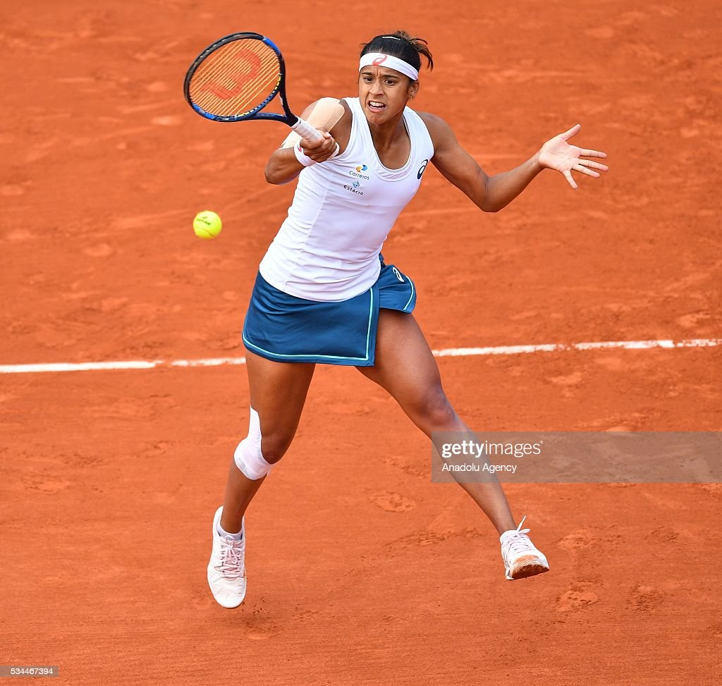 Brazilian Teliana Pereira returns to US's Serena Williams (not seen) during their women's single second round match at the French Open tennis tournament at Roland Garros in Paris, France on May 26, 2016.