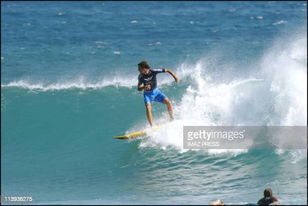 Brazilian Tennisman Gustavo Kuerten spends a few days of holiday In Boucan Canot France On June 05 2002