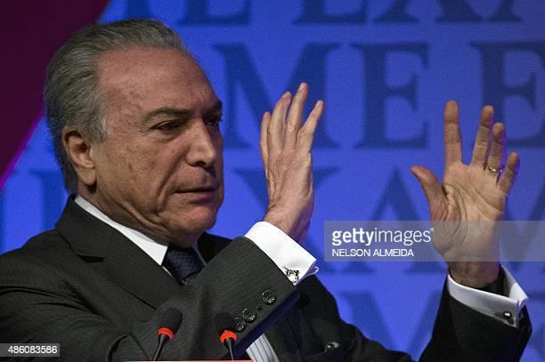 Brazilian Vice President Michel Temer speaks during an Economic Forum in Sao Paulo Brazil August 31 2015 AFP PHOTO / NELSON ALMEIDA