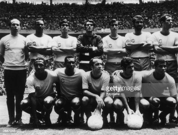 Brazilian World Cup Squad including Carlos Alberto and second from right Socrates Front row left to rihg Paolo Cesar Pele Tostao Rivelino and...