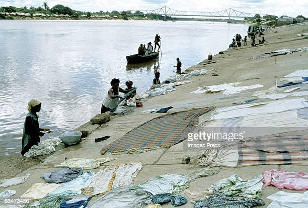 Brazilians doing their wash in Parnaiba River circa 1979 in Teresina Brazil