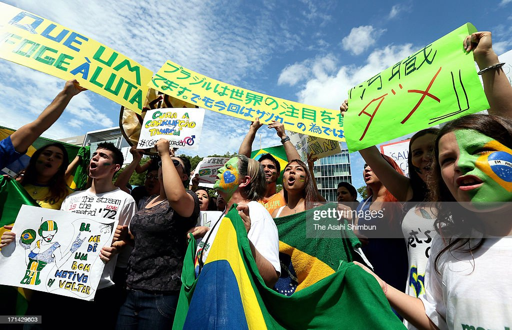Brazilians in Japan demonstrate at Hisaya Odori Park to demand the improvement of their homeland's welfare and education on June 22, 2013 in Nagoya, Aichi, Japan. According to Justice Ministry, 50,000 Brazilians live in Aichi prefecture, the biggest Brazilian community in Japan.