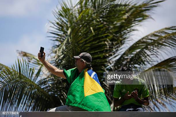 Brazilians protest on Boa Viagem Avenue Recife northeastern Brazil The protests are against corruption and in support of the anticorruption operation...