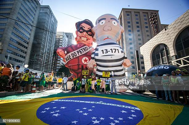 Brazilians stage a demonstration against Dilma Rousseff as the impeachment for Rousseff is being voted by deputies in the lower house of Congress at...