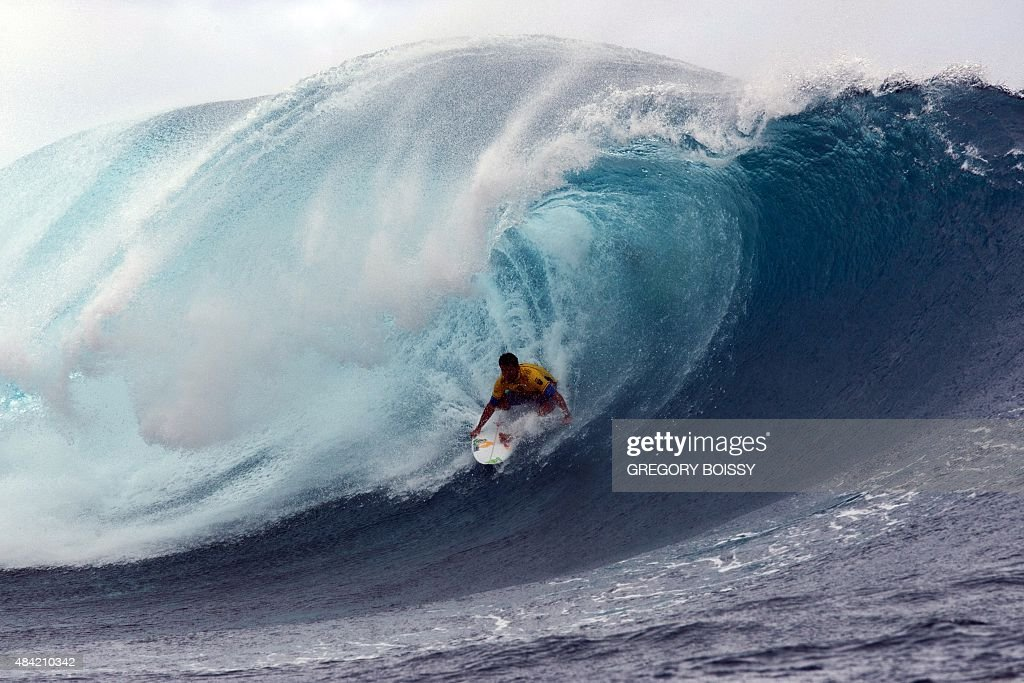 Brazil's Adriano de Souza competes in the 2015 Billabong Pro Tahiti World Surf league tour no7 along the Teaupoo coast western Tahiti on August 15...