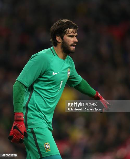 Brazil's Alisson during the Bobby Moore Fund International between England and Brazil at Wembley Stadium on November 14 2017 in London England