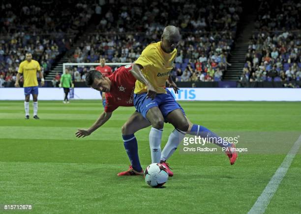 Brazil's Amaralis challenged by Spain's Luis Garcia during the play off final of the Star Sixes Tournament between Brazil and Spain at The O2 Arena...