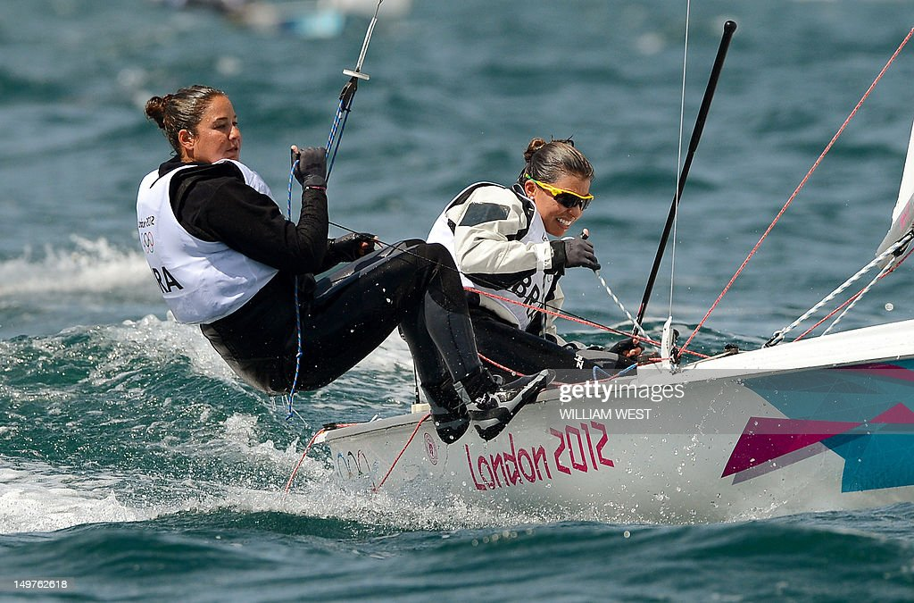 Brazil's Ana Barbachan and Fernanda Oliveira compete in the women's 470 sailing class at the London 2012 Olympic Games in Weymouth on August 3 2012...
