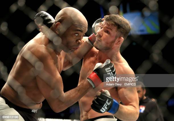 Brazil's Anderson Silva and Great Britain's Michael Bisping during their bout during the UFC Fight Night