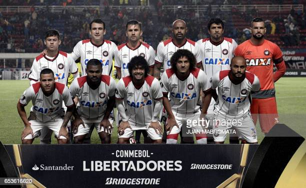 Brazil's Atletico Paranaense football team players pose before their Copa Libertadores 2017 group 4 football match against Argentina's San Lorenzo at...