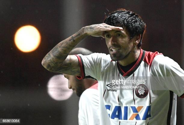 Brazil's Atletico Paranaense midfielder Lucho Gonzalez celebrates after scoring against Argentina's San Lorenzo during the Copa Libertadores 2017...