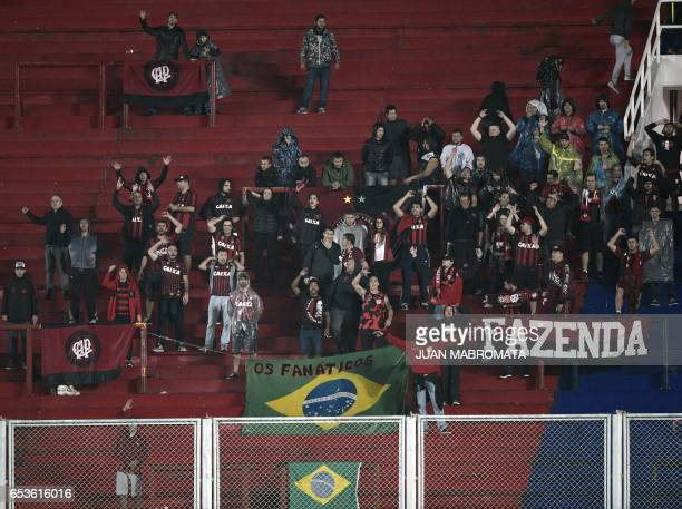 Brazil's Atletico Paranaense supporters cheer for their team during their Copa Libertadores 2017 group 4 football match against Argentina's San...