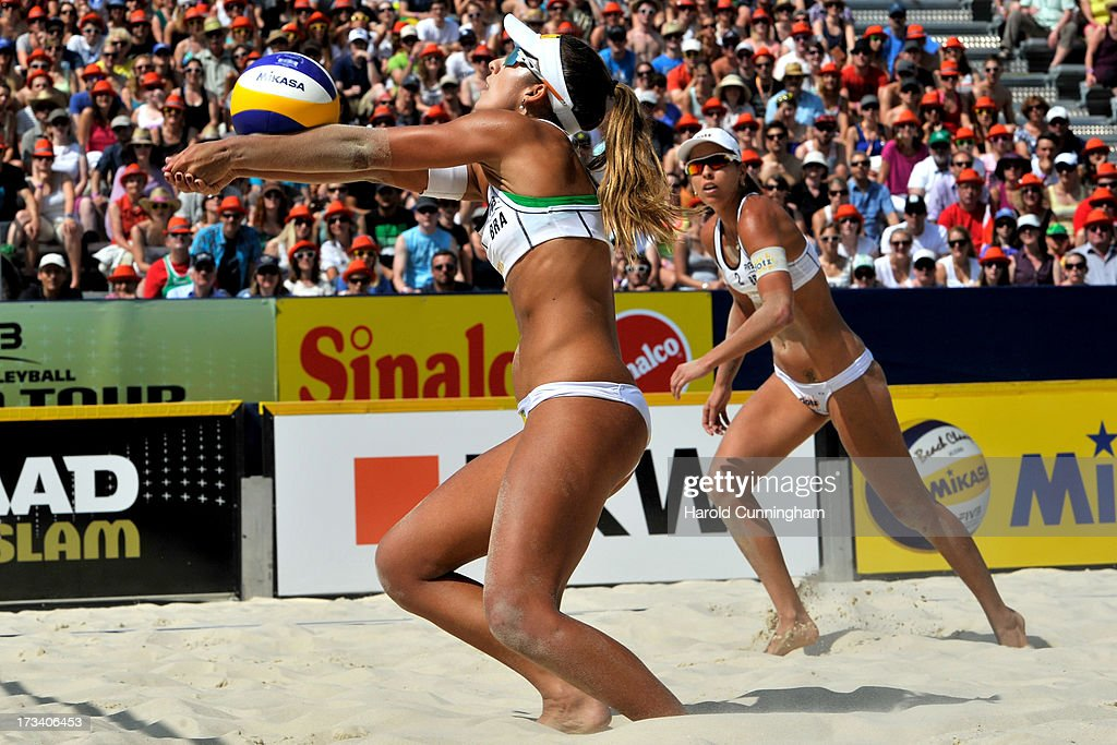 Brazil's Barbara Seixas and Liliane Maestrini in action during the Lili-Seixas BRA v Ludwig-Walkenhorst semi-finals match as part of the FIVB Gstaad Grand Slam fifth day on July 13, 2013 in Gstaad, Switzerland.