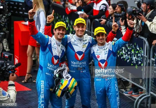 Brazil's Bruno Senna France's Julien Canal France's Nicolas Prost celebrate after winning the LMP2 category of the FIA World Endurance Championship...