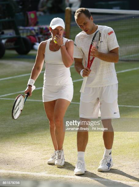Brazil's Bruno Soares and USA's Lisa Raymond in their Mixed Doubles Final against Canada's Daniel Nestor and France's Kristina Mladenovic during day...