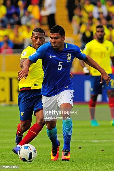Brazil's Casemiro vies for the ball with Ecuador's Carlos Gruezo during their 2018 FIFA World Cup qualifying football match between Ecuador and...