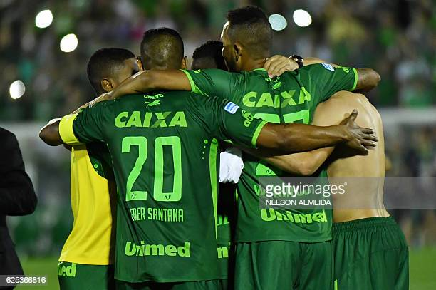 Brazil's Chapecoense footballers celebrate after defeating Argentina's San Lorenzo during their 2016 Copa Sudamericana their 2016 Copa Sudamericana...