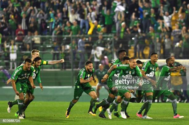 Brazil's Chapecoense footballers celebrate after defeating by penalty kicks against Argentina's Defensa y Justicia in their 2017 Copa Sudamericana...
