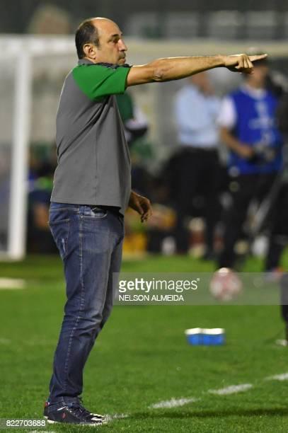 Brazil's Chapecoense team coach Vinicius Eutropio gestures during their 2017 Copa Sudamericana football match against Argentina's Defensa y Justicia...