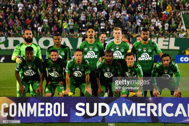 Brazil's Chapecoense team players pose for pictures before their 2017 Copa Sudamericana football match against Argentina's Defensa y Justicia held at...
