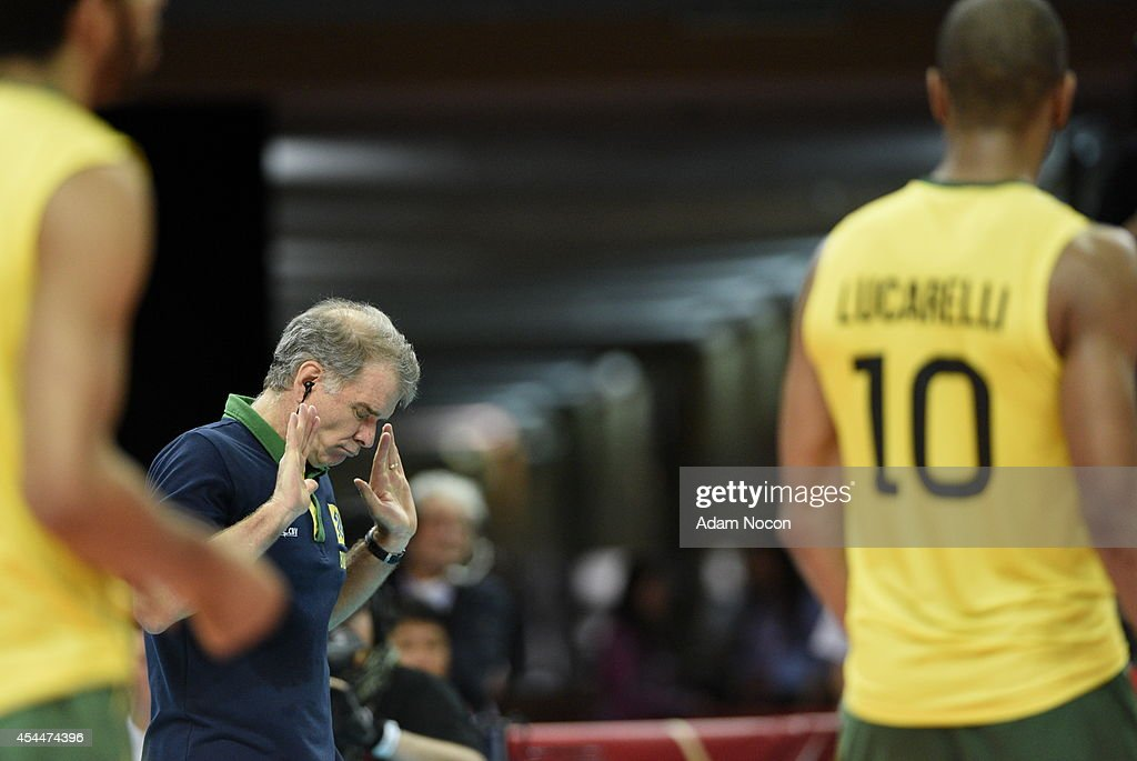 Brazil's coach Bernardo Rezende reacts during the FIVB World Championships match between Brazil and Germany on September 1, 2014 in Katowice, Poland.