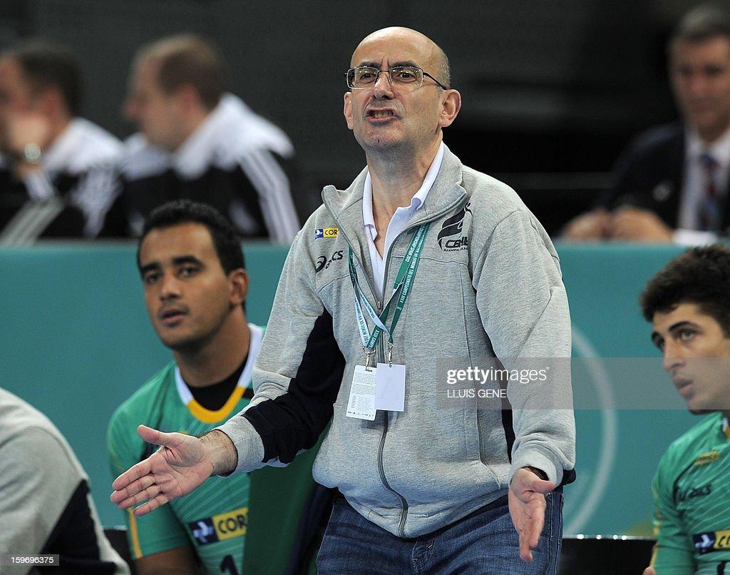 Brazil's coach Jordi Ribera gestures during the 23rd Men's Handball World Championships preliminary round Group A match Montenegro vs Brazil at the Palau Sant Jordi in Barcelona on January 18, 2013.