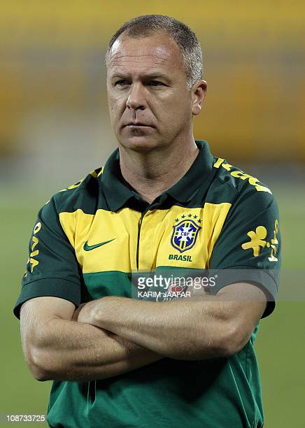 Brazil's coach Luis Menezes attends a training session in Doha on November 15 2010 ahead of his team's friendly football match against Argentina on...
