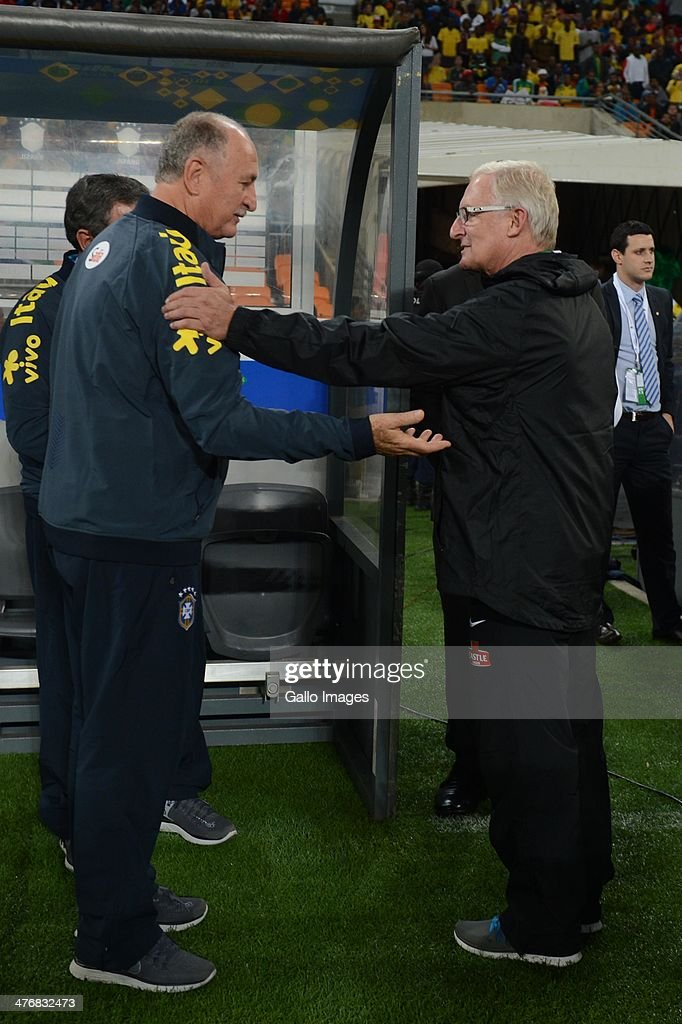 Brazil's coach Luiz Felipe Scolari and South Africa coach <a gi-track='captionPersonalityLinkClicked' href=/galleries/search?phrase=Gordon+Igesund&family=editorial&specificpeople=3647587 ng-click='$event.stopPropagation()'>Gordon Igesund</a> during the International Friendly match between South Africa and Brazil at FNB Stadium on March 05, 2014 in Johannesburg, South Africa.