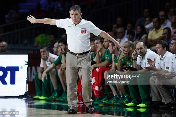 Brazil's coach Ruben Magnano gestures during the 2014 FIBA Basketball World Cup quarter final match between Serbia and Brazil at Palacio de los...