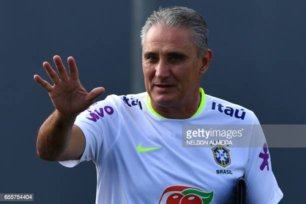 Brazil's coach Tite conducts a training session of the national football team at the Corinthians team training centre in Sao Paulo Brazil on March 20...