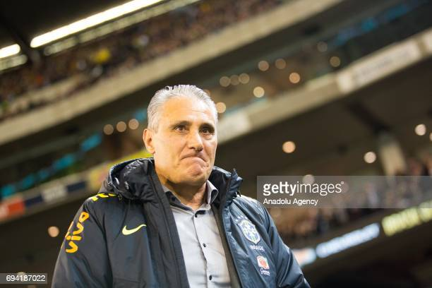 Brazil's Coach Tite gestures before a friendly football international between Argentina and Brazil at the Melbourne Cricket Ground in Melbourne...