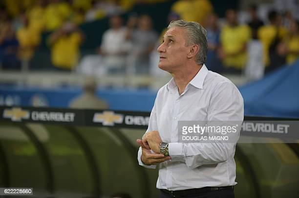 Brazil's coach Tite is pictured during their 2018 FIFA World Cup qualifier football match against Argentina in Belo Horizonte Brazil on November 10...