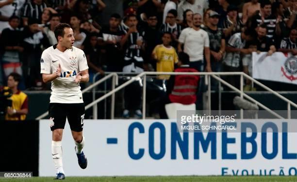 Brazil's Corinthian player Rodriguinho celebrates his goal against Chile's Universidad de Chile during their 2017 Sudamericana Cup football match...