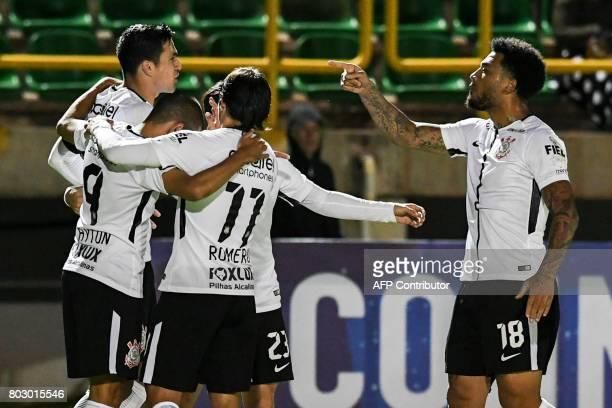 Brazil's Corinthians defender Fabian Balbuena celebrates with his teammates after scoring a goal against Colombia's Patriotas during their Copa...