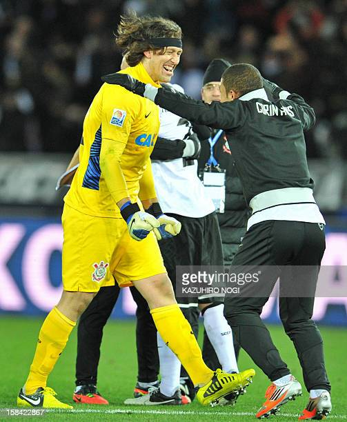 Brazil's Corinthians goalkeeper Cassio and his teammates celebrate their victory over English Premier League team Chelsea in their 2012 Club World...