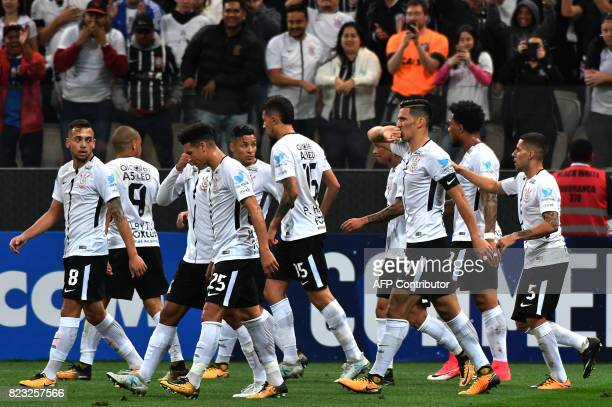 Brazils Corinthians players celebrate a goal scored by Balbuena against Colombia's Patriotas during their 2017 Copa Sudamericana football match held...