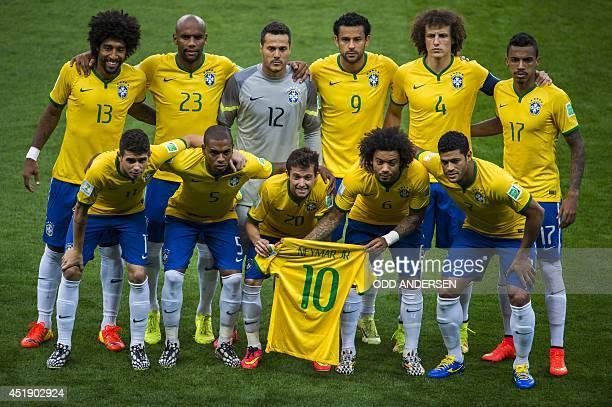 Brazil's defender Dante Brazil's defender Maicon Brazil's goalkeeper Julio Cesar Brazil's forward Fred Brazil's defender David Luiz and Brazil's...