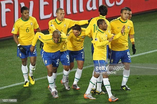 Brazil's defender Michel Bastos Brazil's defender Maicon Brazil's striker Luis Fabiano Brazil's midfielder Elano Brazil's striker Robinho Brazil's...