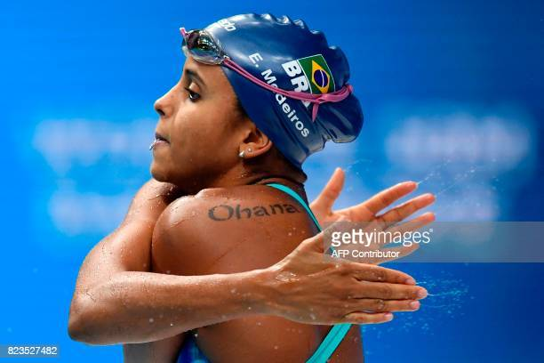 TOPSHOT Brazil's Etiene Medeiros prepares before competing in the women's 50m backstroke final during the swimming competition at the 2017 FINA World...
