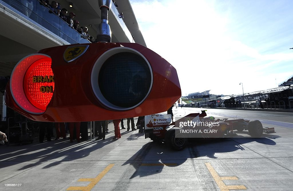 Brazil's Felipe Massa of Scuderia Ferrari steers his car out of the pits during the third practice session for the United States Formula One Grand Prix at the Circuit of the Americas on November 17, 2012 in Austin, Texas.