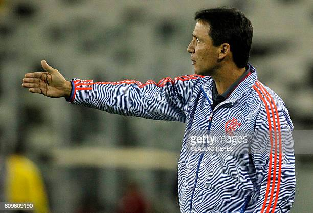 Brazil's Flamengo coach Ze Ricardo gestures during their Copa Sudamericana football match against Palestino of Chile during their Copa Sudamericana...