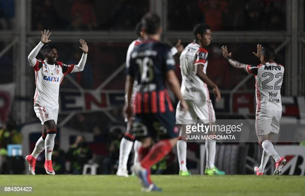Brazil's Flamengo defender Rodinei celebrates after scoring a goal against Argentina's San Lorenzo during the Copa Libertadores 2017 group 4 football...