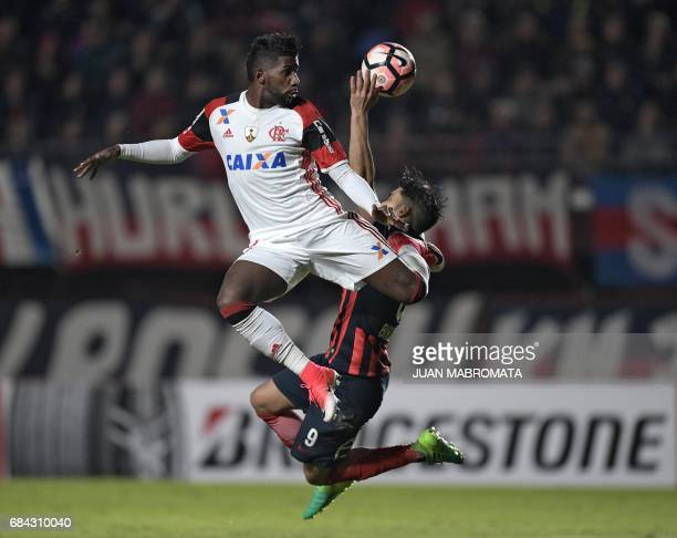 Brazil's Flamengo defender Rodinei vies for the ball with Argentina's San Lorenzo forward Nicolas Blandi during their Copa Libertadores 2017 group 4...
