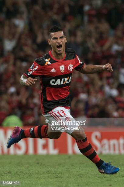 Brazil's Flamengo Miguel Trauco celebrates after scoring a second goal against Argentina's San Lorenzo during their Libertadores Cup football match...